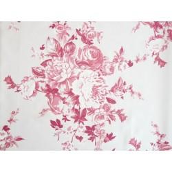 Satin imprimé fleur de rose - Rouge