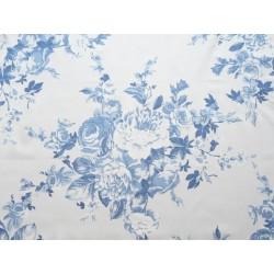 Satin imprimé fleur de rose - Bleu