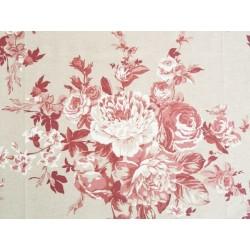 Toile de Jouy fleur de rose - Rouge
