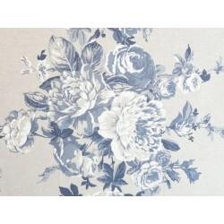 Toile de Jouy fleur de rose - Bleu